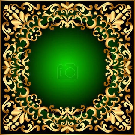 Frame with gold pattern and black green
