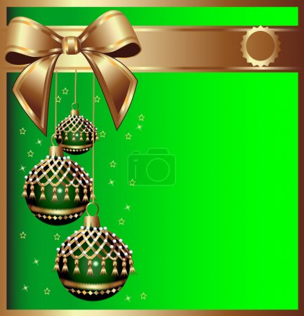 Illustration for Illustration background with bow on cristmas and ball with tassel - Royalty Free Image