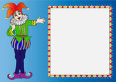 Illustration frame with merry bright clown on we turn blue