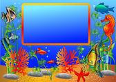 Rám s podmořským ryb a vodních řas