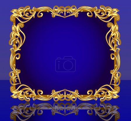 Frame with gold(en) pattern and reflection