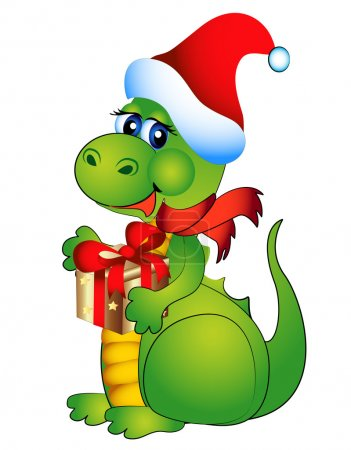 Illustration for Illustration new year's merry dragon with gift - Royalty Free Image