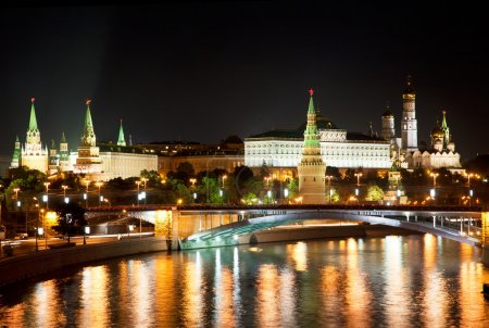 Russia, Moscow, night view of the Moskva River,