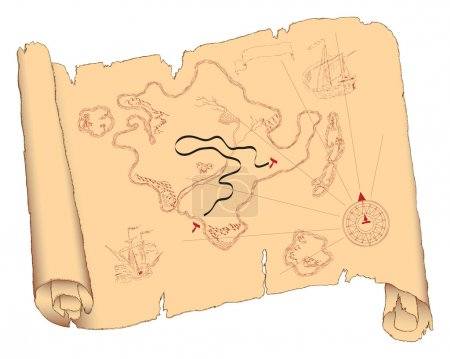 Island on an old scroll