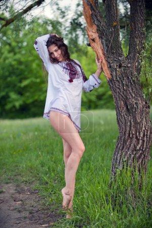 Photo pour Portrait de sexy, belle jeune fille dans une belle chemise nationale debout à côté d'un arbre dans un extérieur - image libre de droit