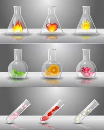 Illustration pour Flacons de laboratoire avec différentes choses à l'intérieur - image libre de droit
