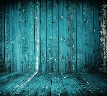 Photo for Old grunge interior, blue wooden background - Royalty Free Image