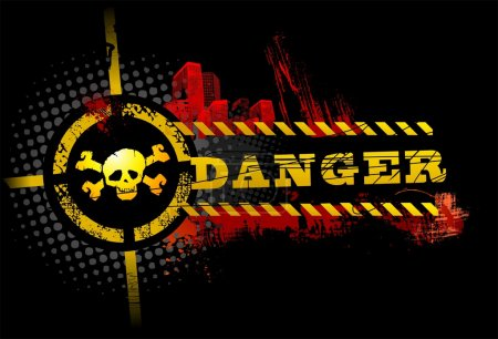 Black Urban Grunge Danger Skull