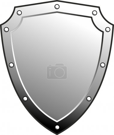 Vector metal heraldic shield. Armorial symbol. Isolated illustration on white background