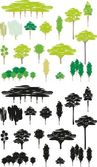 Vector color illustration isolated trees cartoon set of silhouettes