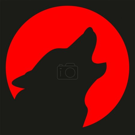 Avatar. Wolf and red moon. Silhouette. Halloween