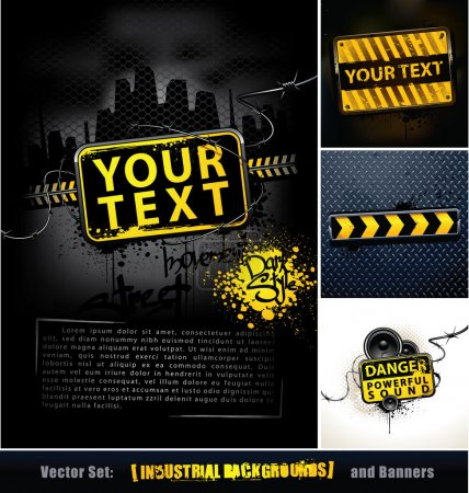 Illustration for Vector set of industrial backgrounds and banners. Layered. Vector EPS 8 illustration. - Royalty Free Image