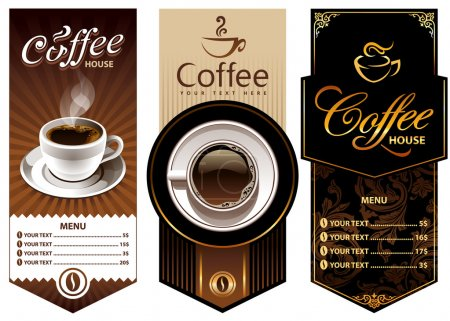 Illustration for Three coffee design templates. Vector banners. All elements are grouped. - Royalty Free Image