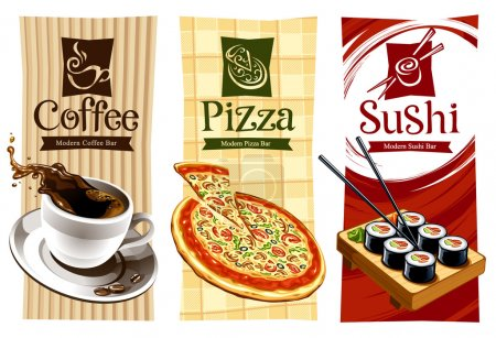 Illustration for Template designs of food banners. Coffee, pizza and sushi. Vector illustration. - Royalty Free Image