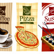 Template designs of food banners. Coffee, pizza an...
