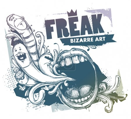 Illustration for Modern sketchy style image of mouth and freaks. Vector EPS 10 illustration. - Royalty Free Image