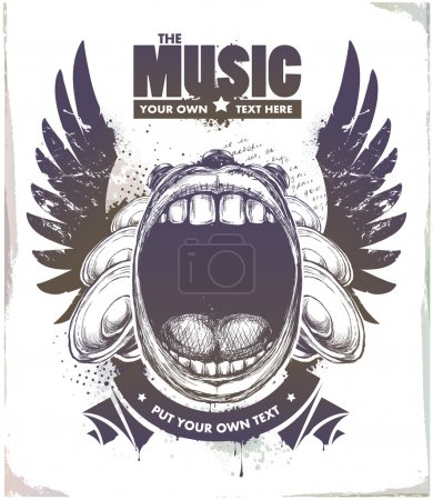 Illustration for Modern sketchy style musical poster with screaming mouth, speakers and wings. Layered. Vector EPS 10 illustration. - Royalty Free Image