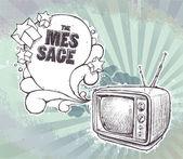 -ručně tažené retro televizor na špinavé pozadí