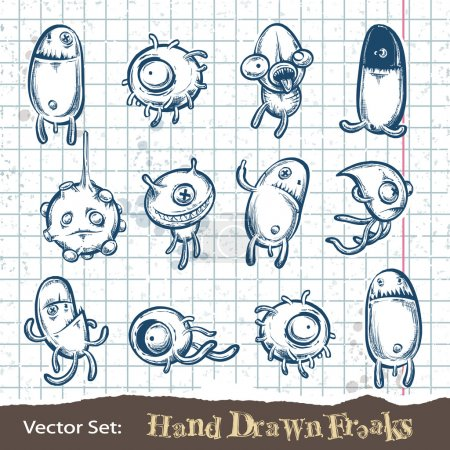 Illustration for Set of hand drawn freaks. Layered. Vector EPS 10 illustration. - Royalty Free Image