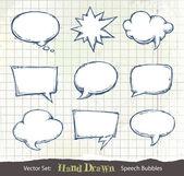 Set of hand-drawn speech bubbles