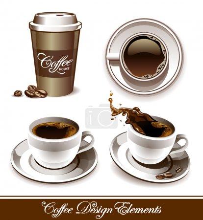 Illustration pour Ensemble vectoriel de tasses à café. Tous les éléments sont groupés et stratifiés . - image libre de droit