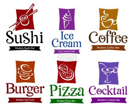 Photo pour Ensemble de symboles vectoriels et de titres pour la conception de vos aliments et boissons . - image libre de droit