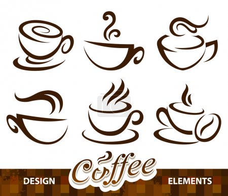 Illustration for Vector set of coffee design elements. - Royalty Free Image