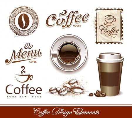 Illustration pour Ensemble vectoriel d'éléments de conception de café . - image libre de droit