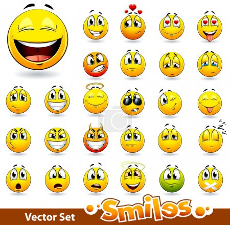 Illustration for Vector set of cute smile-balls. All elements are groupped. - Royalty Free Image