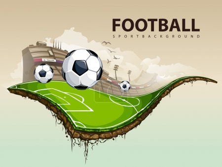 Vector illustration of surreal soccer field