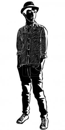 Sketch of the guy in the hat hands in pockets