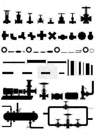 Illustration pour Appareils, fournitures et équipements de toutes sortes pour le traitement du pétrole et du gaz . - image libre de droit