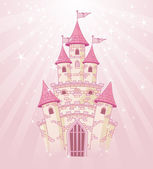 Illustration of a Fairy Tale princess pink castle on radial background