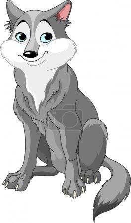 Illustration pour Illustration de loup dessin animé mignon - image libre de droit