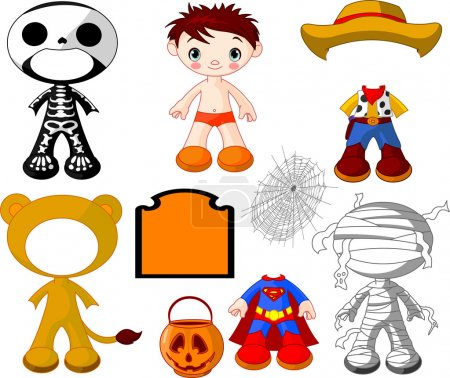 Illustration for Paper Doll boy with costumes for Halloween Party - Royalty Free Image