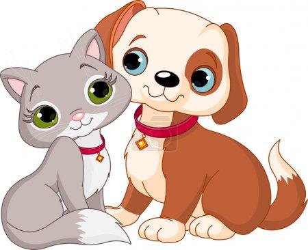 Illustration pour Chien et chat meilleurs amis jamais - image libre de droit