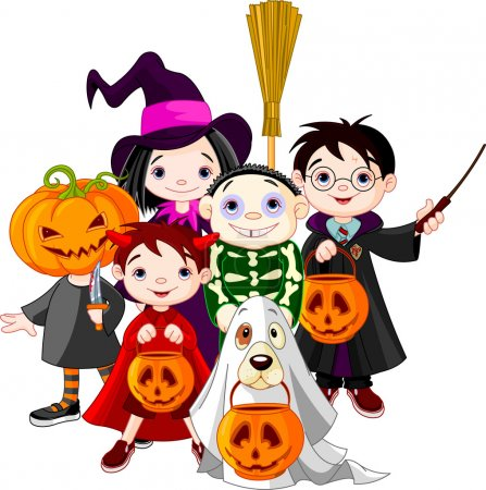 Illustration for Halloween children trick or treating in Halloween costume - Royalty Free Image