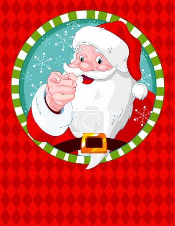 Illustration pour Le Père Noël pointe du doigt. Carte de voeux - image libre de droit