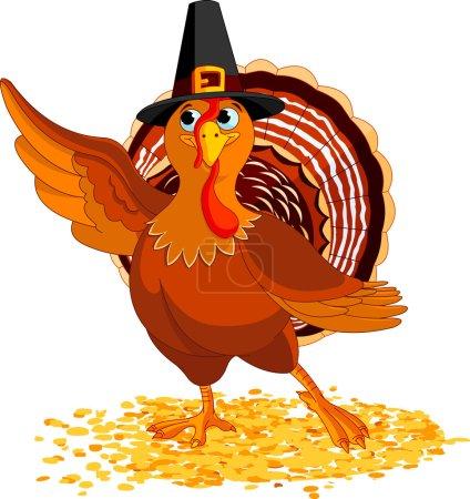 Illustration pour Illustration de la présentation de Happy Thanksgiving Turkey - image libre de droit