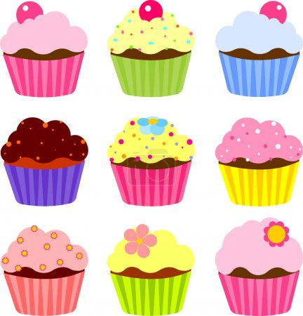 Illustration for Set of various cupcake - Royalty Free Image