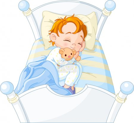 Illustration for Cute little boy sleeping in his bed - Royalty Free Image