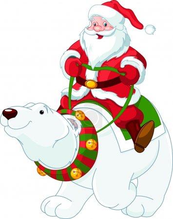 Illustration pour Père Noël chevauchant sur le dos d'un ours polaire amical - image libre de droit