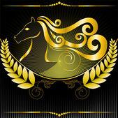Golden emblem with a horse