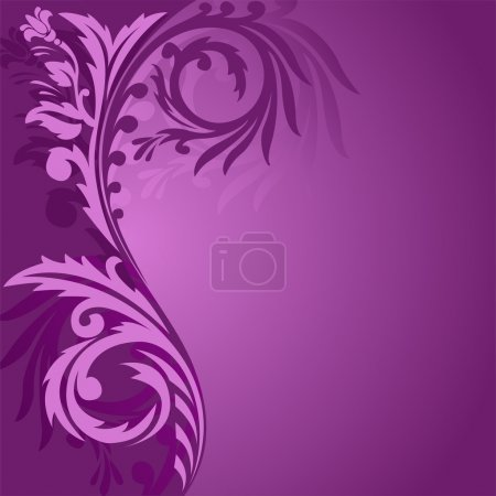 Illustration for Abstract purple background with a beautiful ornament to the left - Royalty Free Image