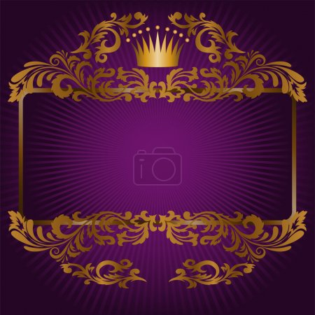 Illustration for Great frame of gold ornaments and a crown on a purple background - Royalty Free Image