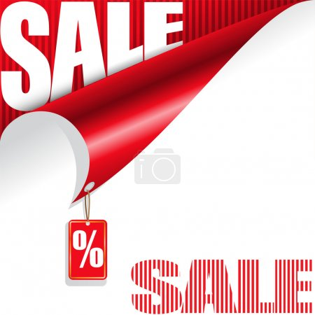 Illustration for White and red background with elements of the sale for your design - Royalty Free Image