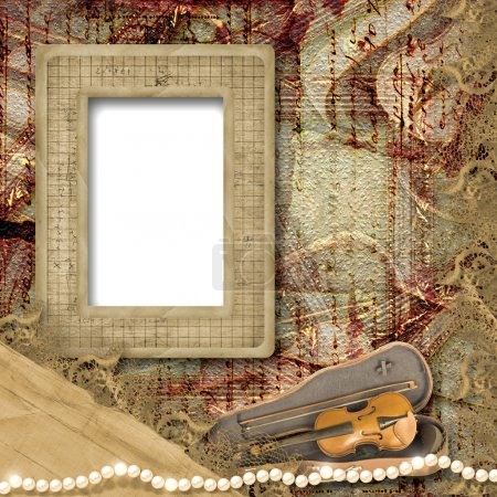 The old frame and violin in case on the vintage background