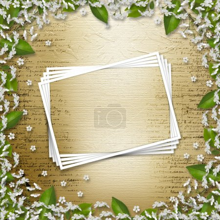 Writing abstract background with frame floral beautiful bouque