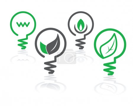 Illustration for Set of environment green icons with light bulbs and leaves - Royalty Free Image