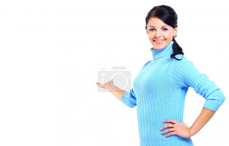 Attractive woman with hand on white background